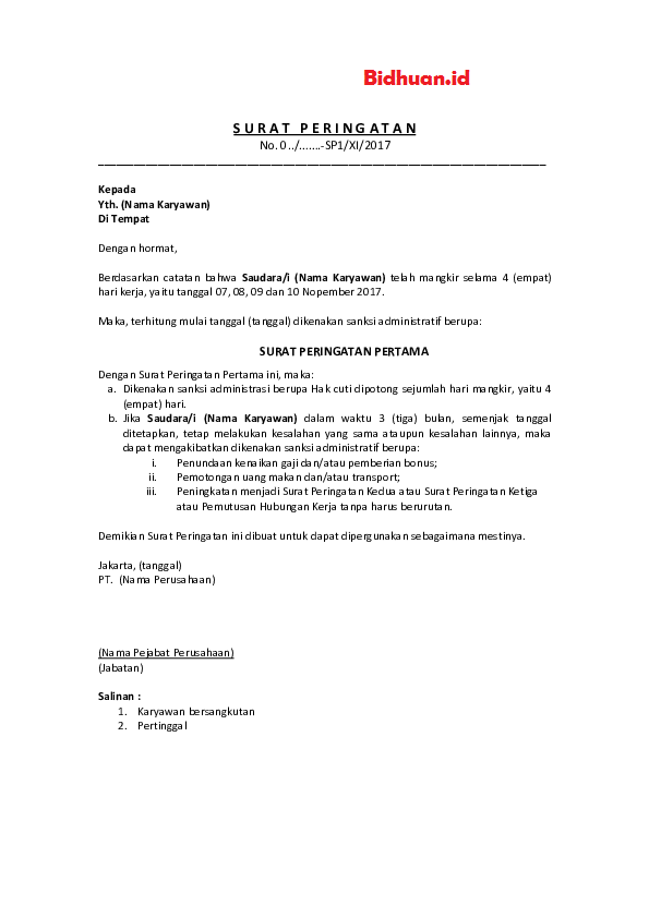 contoh surat peringatan 2