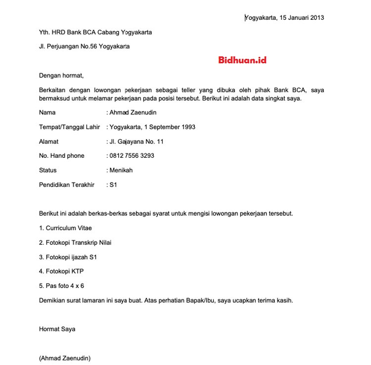 Contoh cover letter bahasa Indonesia
