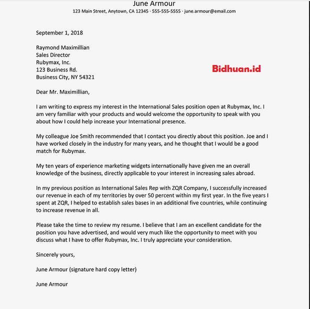contoh cover letter bahasa Inggris untuk fresh graduate