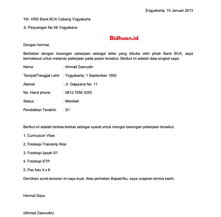 contoh job application letter bahasa Indonesia