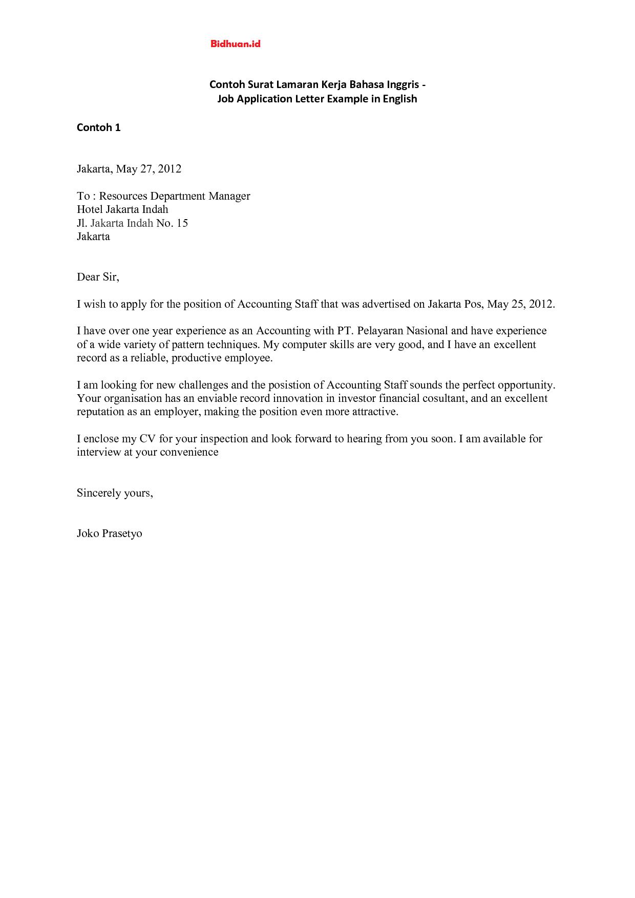 contoh job application letter bahasa Inggris