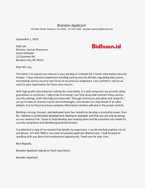 contoh job application letter terbaik