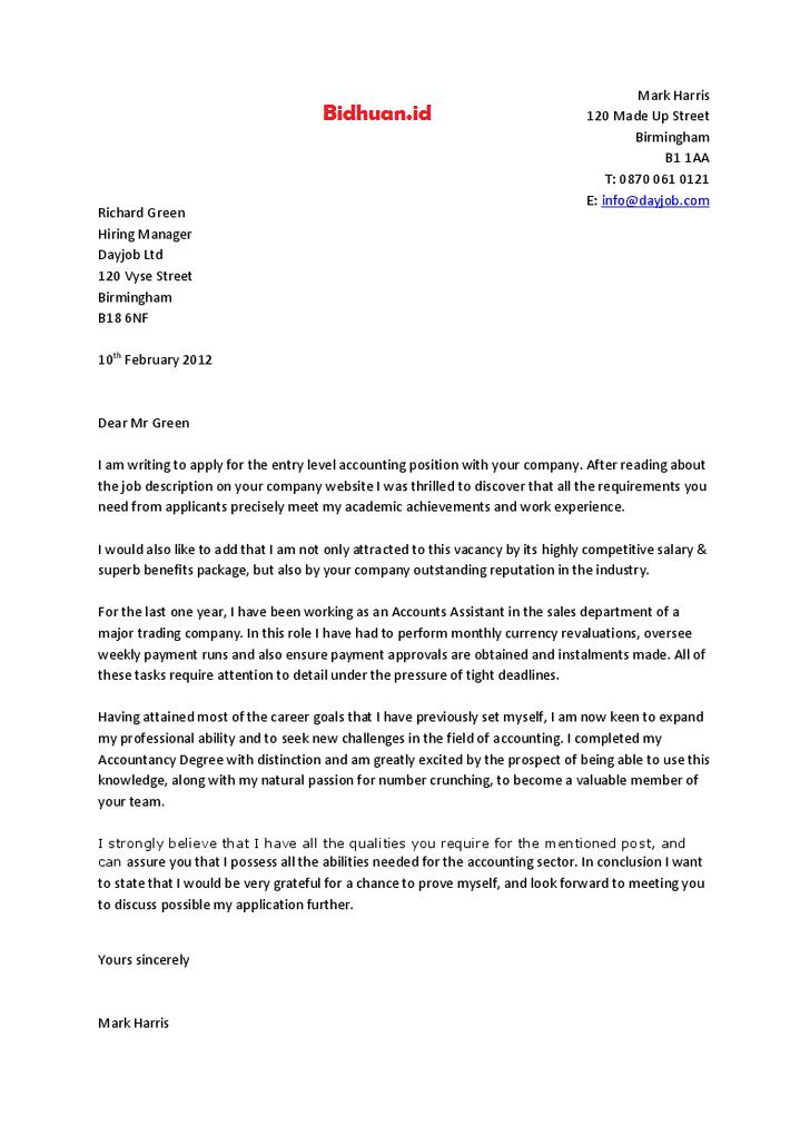 contoh job application letter
