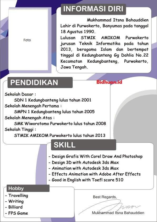 contoh portofolio lamaran kerja bahasa Indonesia