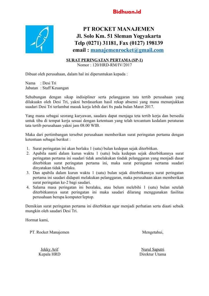 Contoh surat SP dan pelanggarannya