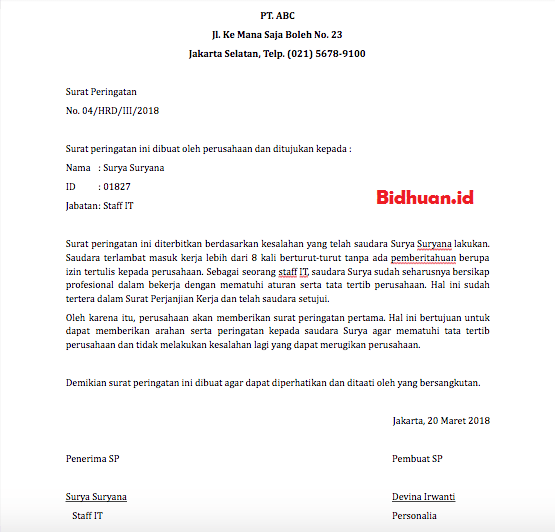 Contoh surat SP karyawan