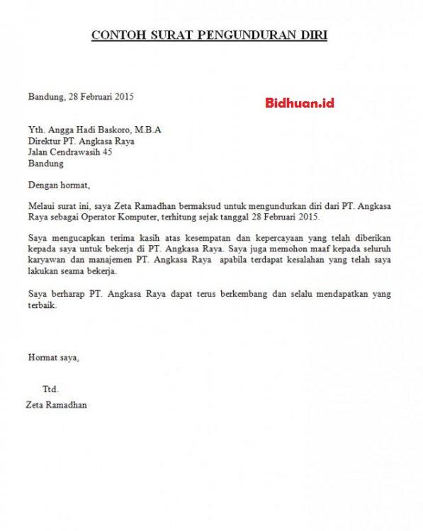 contoh surat pengajuan resign