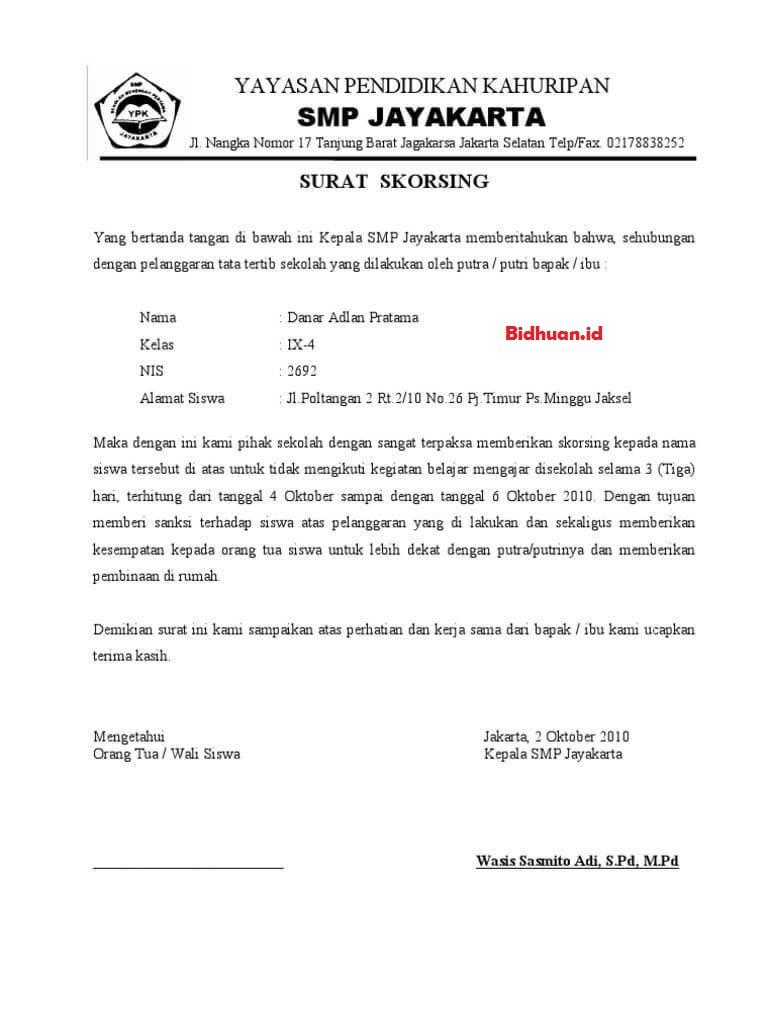 contoh surat peringatan untuk siswa