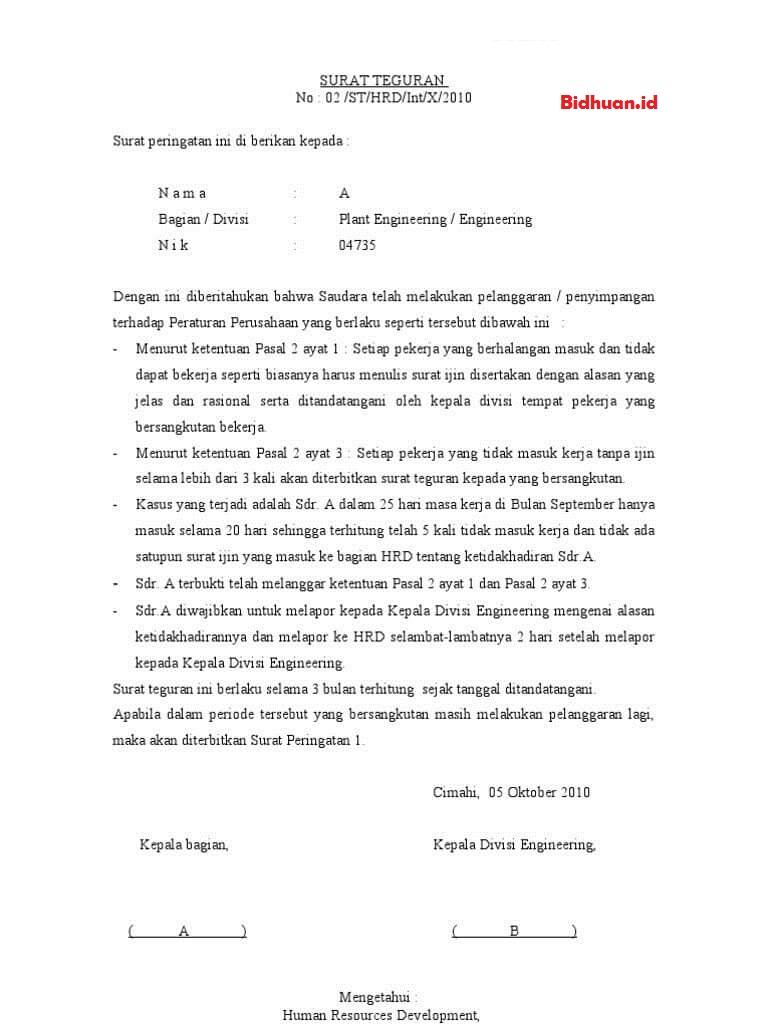 contoh surat teguran untuk karyawan