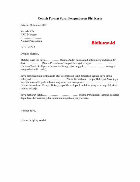 format surat pengajuan resign