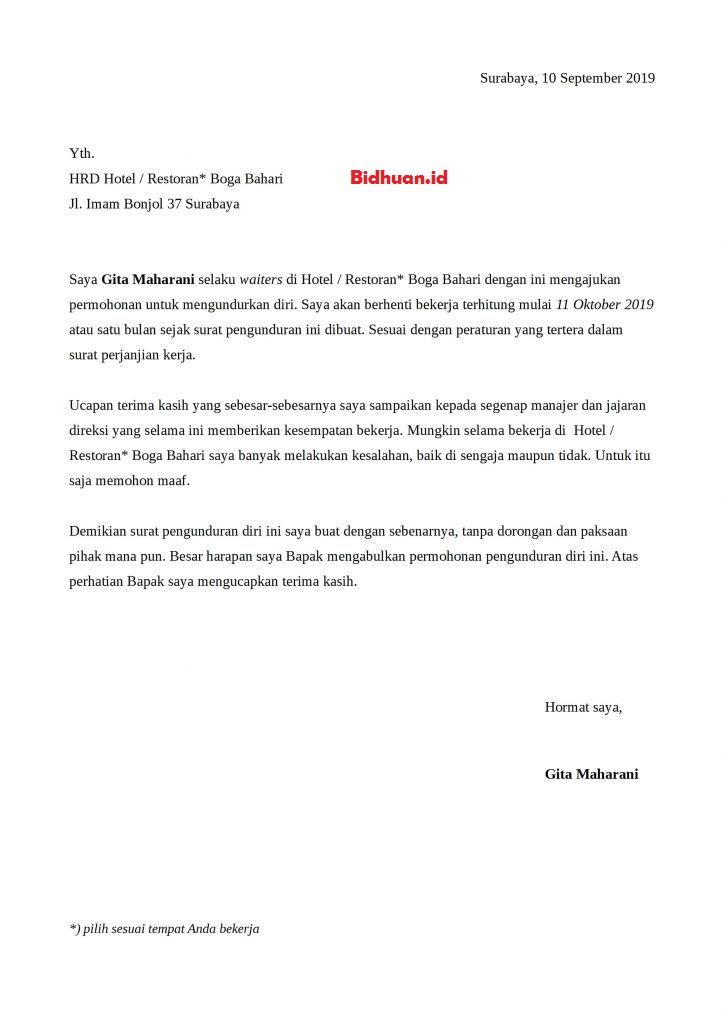 surat pengajuan resign perusahaan